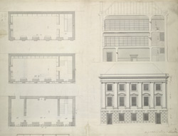 Elevation for the school and library at Newcastle